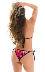 Cheeky Scrunchie Banded Side Tie in Beach Tiger Pink with Black Banding 2