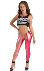 Womens Super Low Rise Fitness Leggings in Metallic Sunset Ombre 3