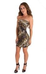 Mini Strapless Bodycon Dress in ThinSKINZ Giant Python 1