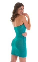 Mini Strapless Bodycon Dress in Ocean Stretch Lace 2