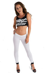Womens Super Low Rise Fitness Leggings in White Powernet 1