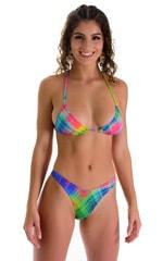 Brazilian Triangle Swim Top in ThinSKINZ Diagonal Plaid 1