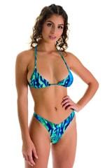 High Cut Thong Bottom in Beach Tiger Green-Blue 1