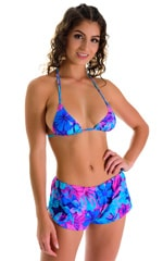 SusieQ Split Short Beach Cover-Up in Tahitian Magenta-Aqua 3