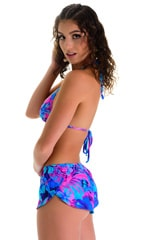 SusieQ Split Short Beach Cover-Up in Tahitian Magenta-Aqua 2