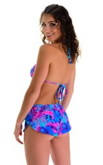 SusieQ Split Short Beach Cover-Up in Tahitian Magenta-Aqua 4