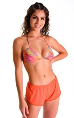 SusieQ Split Short Beach Cover-Up in ThinSKINZ Apricot 1