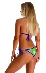 Cheeky Scrunchie Banded Side Tie Bikini Bottom in Ice Karma Lemon Lime with Royal Blue Binding 2