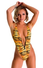 Zipper Front High Cut One Piece Thong in ThinSkinz Golden Kat 4