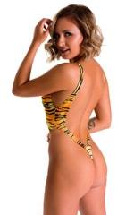 Zipper Front High Cut One Piece Thong in ThinSkinz Golden Kat 2