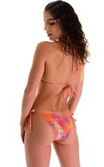 Low Rise Side Tie Brazilian Bikini Bottom in Tan Through Orange Jungle 2