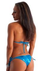 Womens Side Tie Competition Scrunchie Bikini Bottom in Metallic Ocean Blue Mystique 3