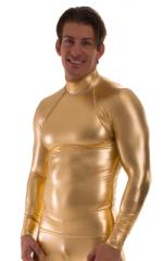 Swim Skin Rash Guard in Liquid Metallic Gold 1