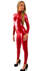 Front Zipper Catsuit-Bodysuit for Women in Gloss Red Superstretch Vinyl-Lycra 1