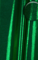 Front Zipper Catsuit-Bodysuit for in Metallic Green Fabric