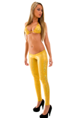 Womens Super Low Rise Leggings in Holographic Shattered Glass Gold 1
