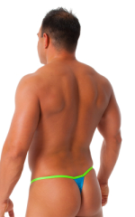 Banded Thong Bathing Suit in Metallic Ocean Blue - LIme Band 3