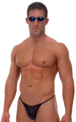 Fitted Pouch - Puckered Half Back - Swimsuit in Wet Look Black 1