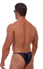 Fitted Pouch - Puckered Half Back - Swimsuit in Wet Look Black 3