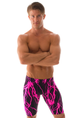 Lycra Bike Length Shorts in Hot Pink Lightning 1