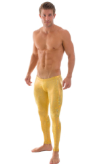 Mens SUPER Low Leggings Tights in Holographic Shattered Glass Gold-Gold 1