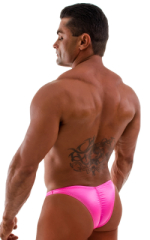 Posing Suit - Fitted Pouch - Puckered Back in Wet Look Hot Pink 5
