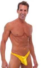 Exotic Dancer - Pouch Enhanced - Pistol Bikini in Metallic Gold Chartreuse 1