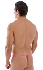 G String Swimsuit - Adjustable Pouch in Wet Look Hot Pink 3