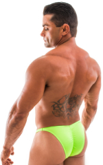 Fitted Pouch - Puckered Back - Posing Suit in Neon Lime 3