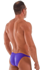 Fitted Pouch Puckered Back Bikini Swimsuit in Wet Look Purple 3