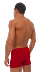 Seamless Square Cut Underwear Gym Shorts in Red Cotton/lycra 3
