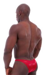 Bodybuilder Posing Suit - Narrow Back in Wet Look Lipstick Red 3