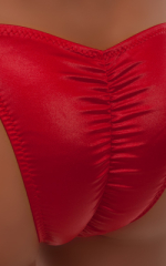Fitted Pouch - Puckered Half Back - Swimsuit in Wet Look Lipstick Red 4