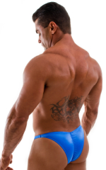 Posing Suit - Fitted Pouch - Puckered Back in Wet Look Royal Blue 3