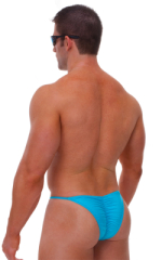 Fitted Pouch - Puckered Half Back - Swimsuit in Wet Look Turquoise 3