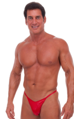 Skinny Side Half Back Swim Suit in Wet Look Lipstick Red 1
