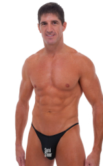 Fitted Pouch - Puckered Half Back - Swimsuit in Semi Sheer Black PowerNet 1