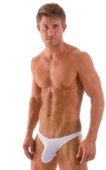 Exotic Dancer - Pouch Enhanced - Pistol Bikini in Semi Sheer White Powernet 1