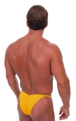 Fitted Pouch - Puckered Half Back - Swimsuit in Semi Sheer Sunset Yellow 3