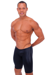 Extreme Lycra Jammer Shorts in Wet Look Black 1