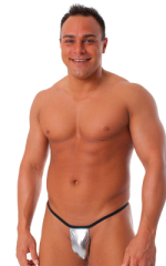 Banded Thong Bathing Suit in Metallic Silver - Black Band 1
