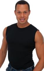Sleeveless Lycra Muscle Tee in Black Cotton-Lycra 1