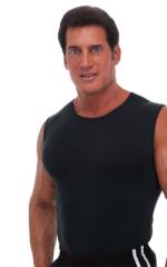 Sleeveless Lycra Muscle Tee in Semi Sheer ThinSKINZ Black 1