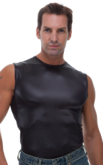Sleeveless Lycra Muscle Tee in Wet Look Black 4