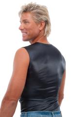 Sleeveless Lycra Muscle Tee in Wet Look Black 3
