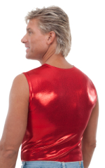 Sleeveless Lycra Muscle Tee in Metallic Mystique Red 3
