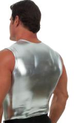 Sleeveless Lycra Muscle Tee in Metallic Liquid Silver 3