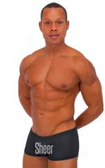 Extreme Low Square Cut Swim Trunks in Semi SHEER Black PoweNet nylon/lycra 1