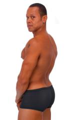 Extreme Low Square Cut Swim Trunks in Semi SHEER Black PoweNet nylon/lycra 3