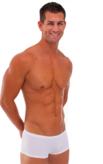 Extreme Low Square Cut Swim Trunks in PowerNet White 1